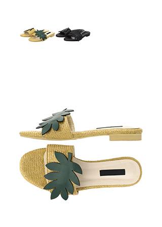 sh1394 러블리한 리프 장식의 라피아 플랫 슬리퍼 shoes