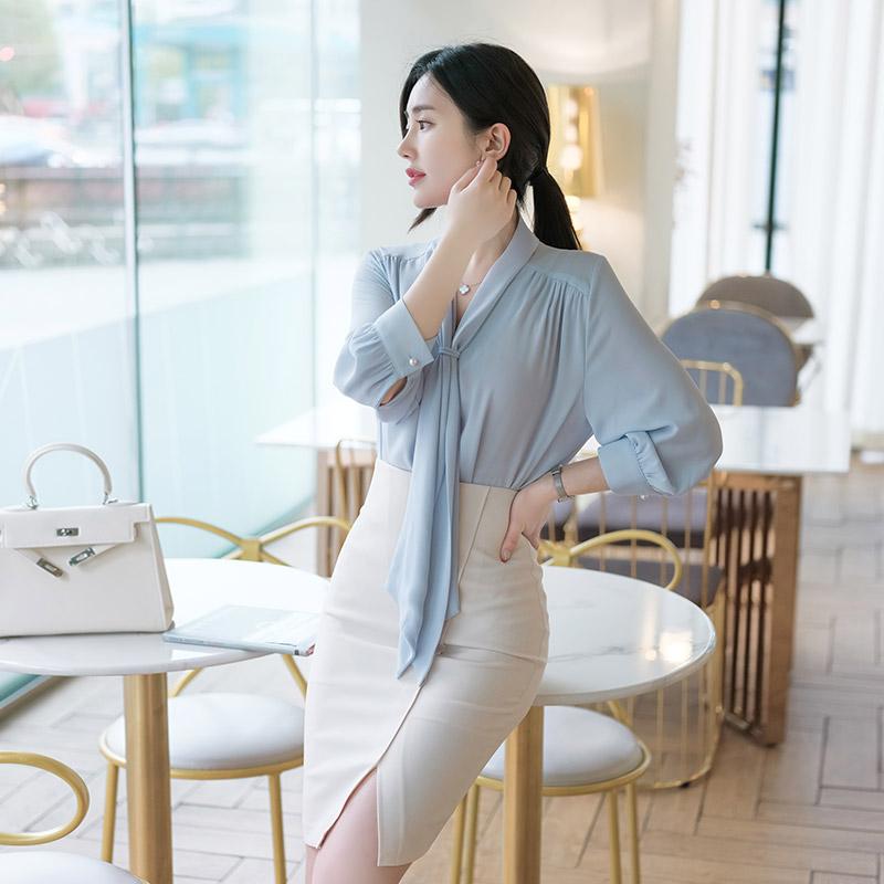 bs4292 청초한 매력의 타이넥 8부 소매 진주 버튼 블라우스 blouse