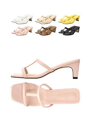 sh1401 캐쥬얼한 스트랩 포인트의 데일리 오픈토 블로퍼 미들힐 shoes