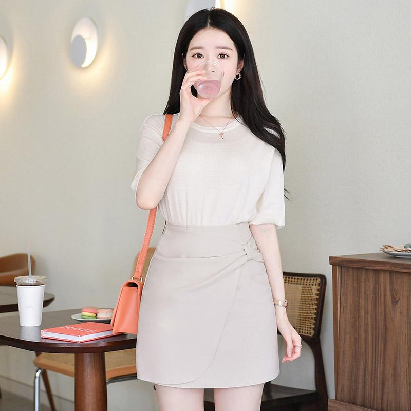sk3453 사랑스러운 무드의 언발 리본디테일 포인트 미니 H라인 스커트 skirt