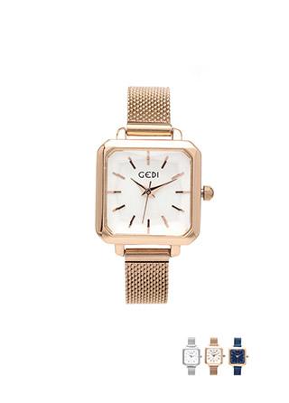 ac3898 스타일리쉬한 메쉬메탈 소재의 스퀘어 프레임 손목시계  wriswatch