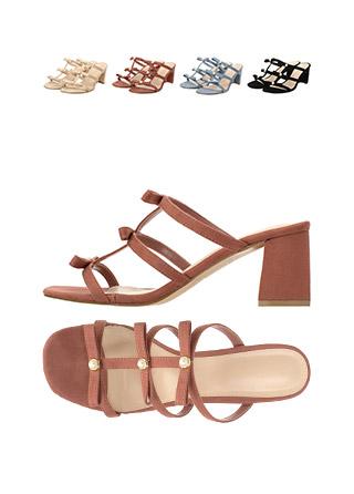 sh1402 로맨틱한 쓰리 스트랩 진주리본 포인트의 오픈토 블로퍼 미들힐 shoes