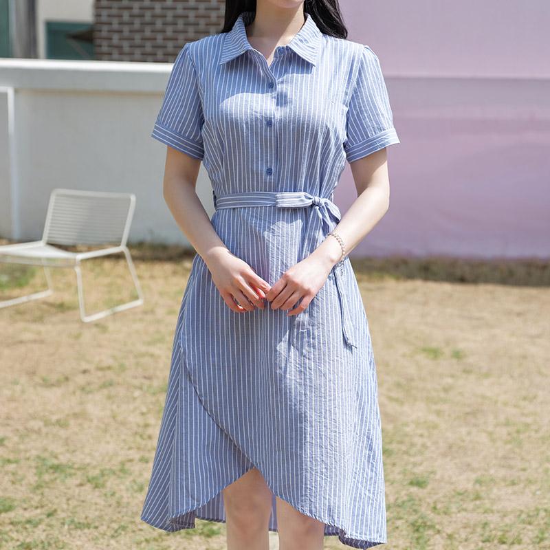 op6958 보기만해도 시원한 스트라이프패턴의 언발 랩디자인 셔츠원피스 dress