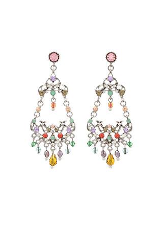 ac3911 영롱한 컬러 비즈 장식의 빈티지 실버 컬러 샹들리에 빅 이어링 earring