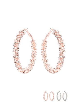 ac3910 셀럽이 착용한 화려한 큐빅 장식의 빅 사이즈 링 귀걸이 earring