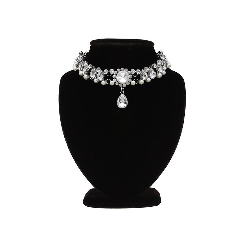 ac3912 볼드한 쉐입으로 완성된 큐빅 물방울 드롭 초커 네크리스 necklace