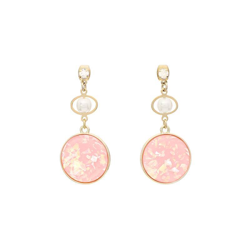 ac3919 여리한 컬러구성의 에스닉 자개 펜던트 진주 드롭 이어링 earring
