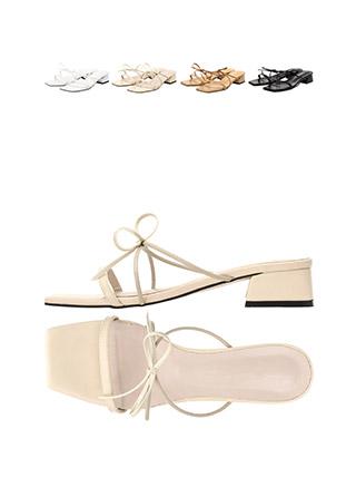 sh1454 여리한 슬림 리본 장식의 로우 샌들 힐 shoes