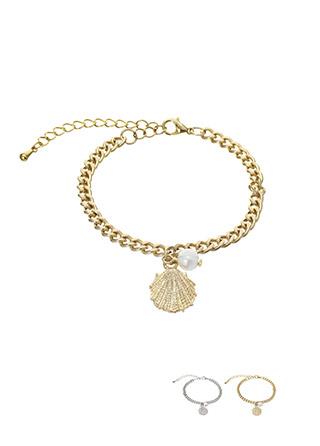 ac3928 진주조개 펜던트 장식으로 예쁘게 연출된 체인 브레이슬릿 bracelet
