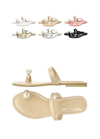 sh1450 한층 여성스럽게 완성된 볼드한 진주 장식의 스트랩 쪼리 슬리퍼 shoes