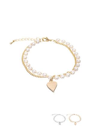 ac3930 사랑스러운 진주볼, 슬림 체인 포인트의 하트 펜던트 브레이슬릿 bracelet