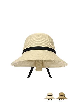 ac3936 리본 배색 핀턱 포인트로 뒷모습까지 예쁜 파나마햇 밀짚 모자 hat