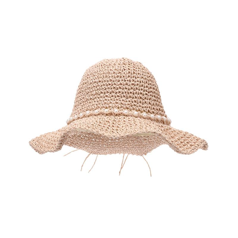 ac3937 유연한 쉐입으로 네츄럴하게 완성된 진주볼 리본 포인트 와이어 밀짚 모자 hat
