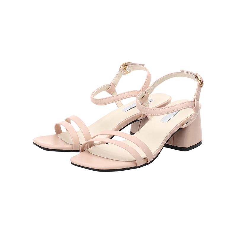 sh1441 데일리로 신기 좋은 더블 스트랩 디자인의 미들힐 오픈토 슈즈 shoes