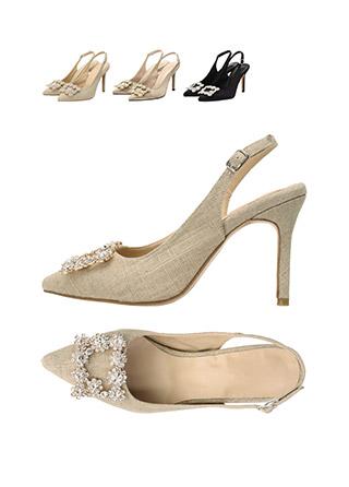 sh1423 명품 브랜드 감성의 세련된 큐빅 장식 슬링백 힐 shoes