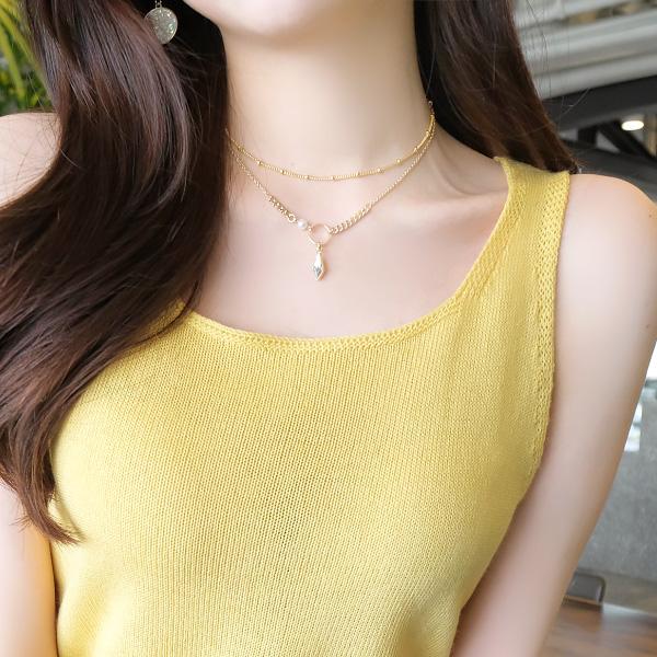 ac3922 골져스한 반짝임의 마름모 드롭 크리스탈 큐빅과 진주 체인 레이어드 네크리스 necklace