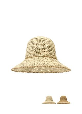 ac3935 유연한 와이어의 네츄럴핏 리본 배색 파나마햇 밀짚모자 hat