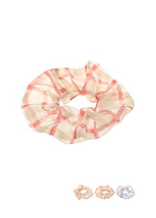 ac3942 러블리한 체크 쉬폰 곱창 머리끈 hairband