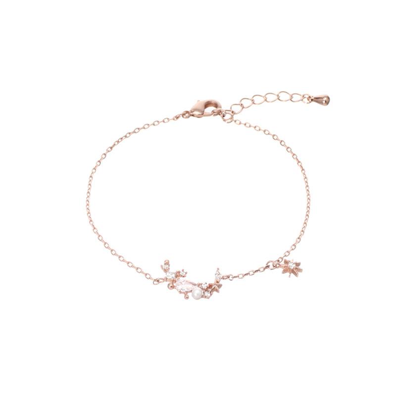 ac3949 은은하게 반짝이는 진주큐빅 포인트의 달 쉐입 브레이슬릿 bracelet