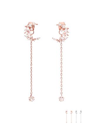 ac3946 백침을 활용해 2WAY 스타일링이 가능한 진주큐빅 포인트의 달쉐입 드롭 이어링 earring