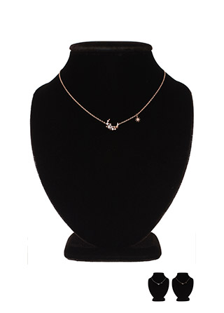 ac3947 은은한 반짝임이 돋보이는 진주큐빅 포인트의 데일리 달 쉐입 네크리스 necklace