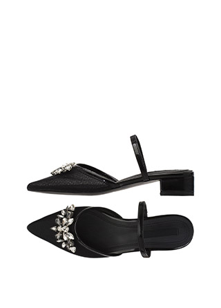 sh1443 로맨틱한 쥬얼리 펜던트 장식의 메쉬 소재 뾰족코 샌들 shoes