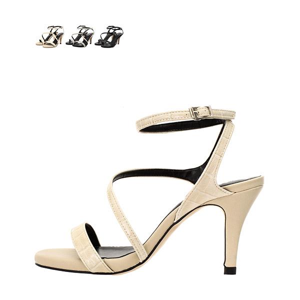 sh1456 스타일리쉬한 와니가죽 패턴의 스트랩 메리제인 샌들 힐 shoes