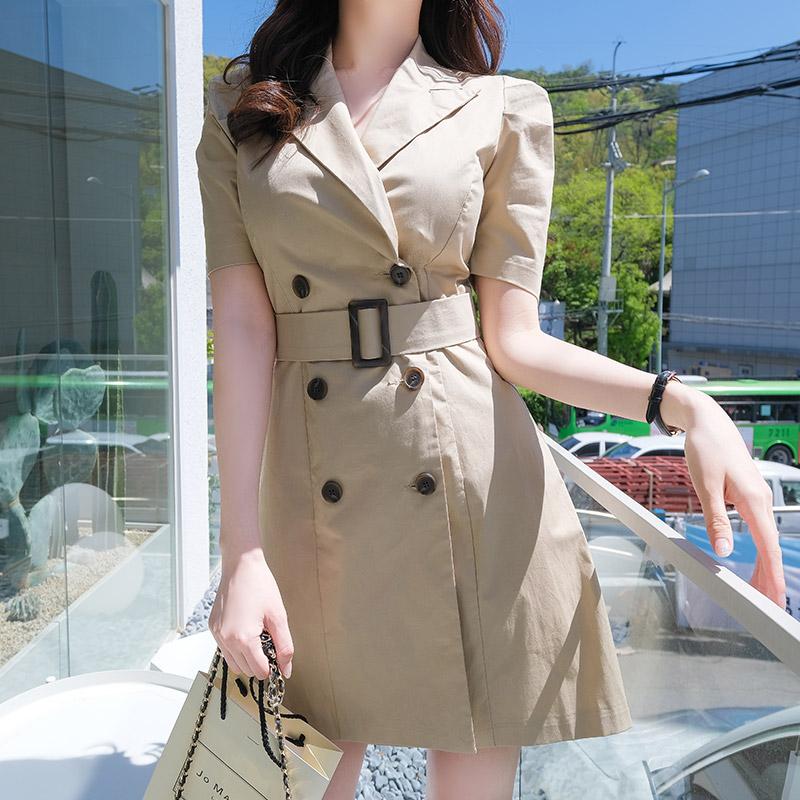op6968 트렌치 스타일 슬림핏 A라인 더블버튼 코튼 원피스 dress