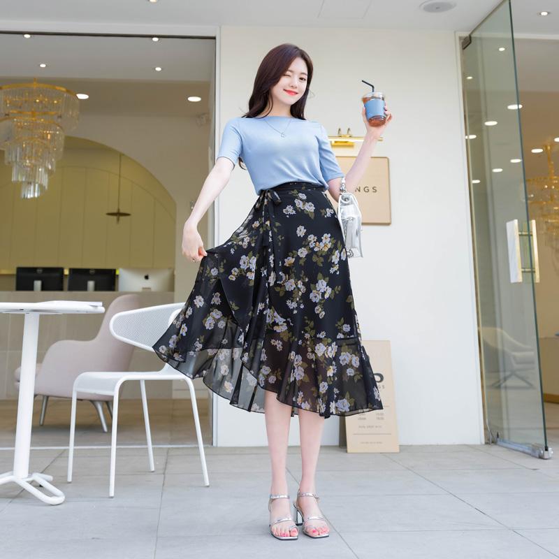 sk3474 하늘하늘 여성스러운 실루엣을 선사할 플로럴 쉬폰 랩스커트 skirt