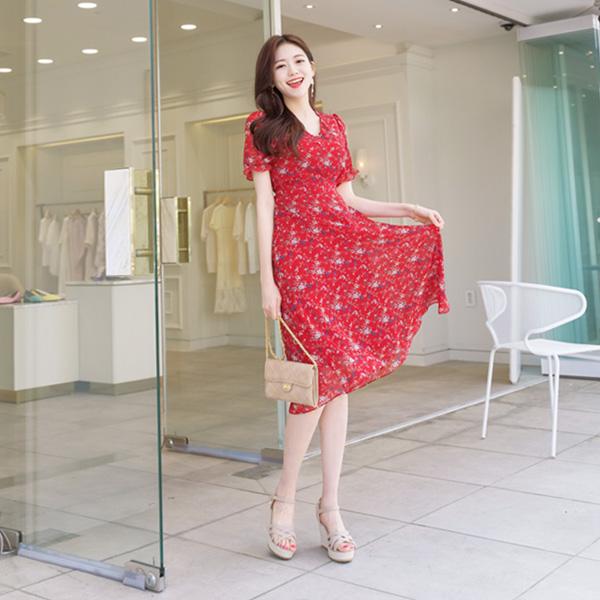 op6987 여리여리 페미닌한 실루엣을 선사하는 플로럴패턴의 반팔 쉬폰 롱원피스 dress