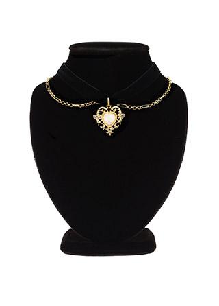 ac3943 블랙벨벳과 골드하트장식이 멋스러운 더블 포인트의 초커 네크리스 necklace