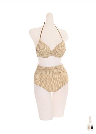 bk056 입체적인 잔체크 패턴의 홀터 비키니 세트 bikini