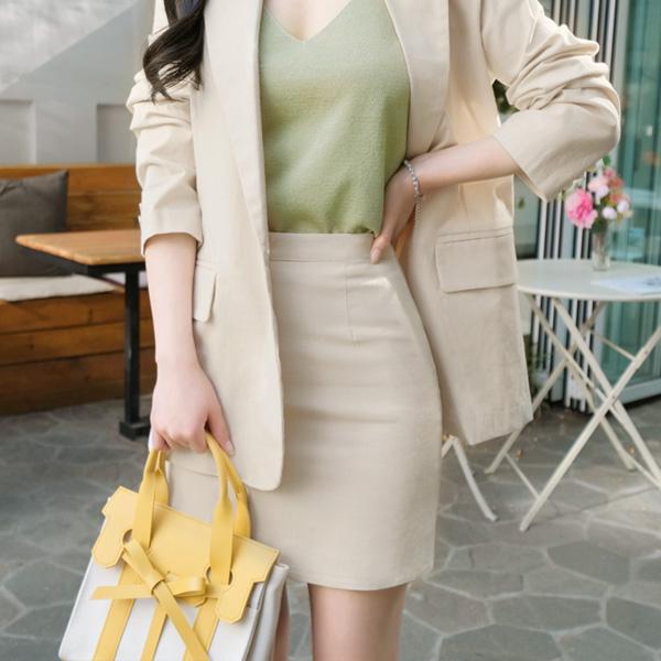 sk3484 깔끔하고 시원한 코튼린넨소재 슬림핏 베이직 썸머스커트 skirt
