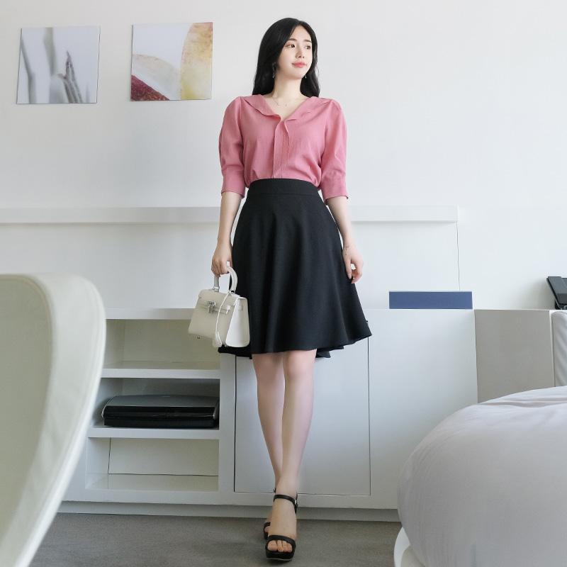 sk3485 여름내내 입게될 찰랑이는 시원한 감촉의 미디기장 플레어스커트 skirt