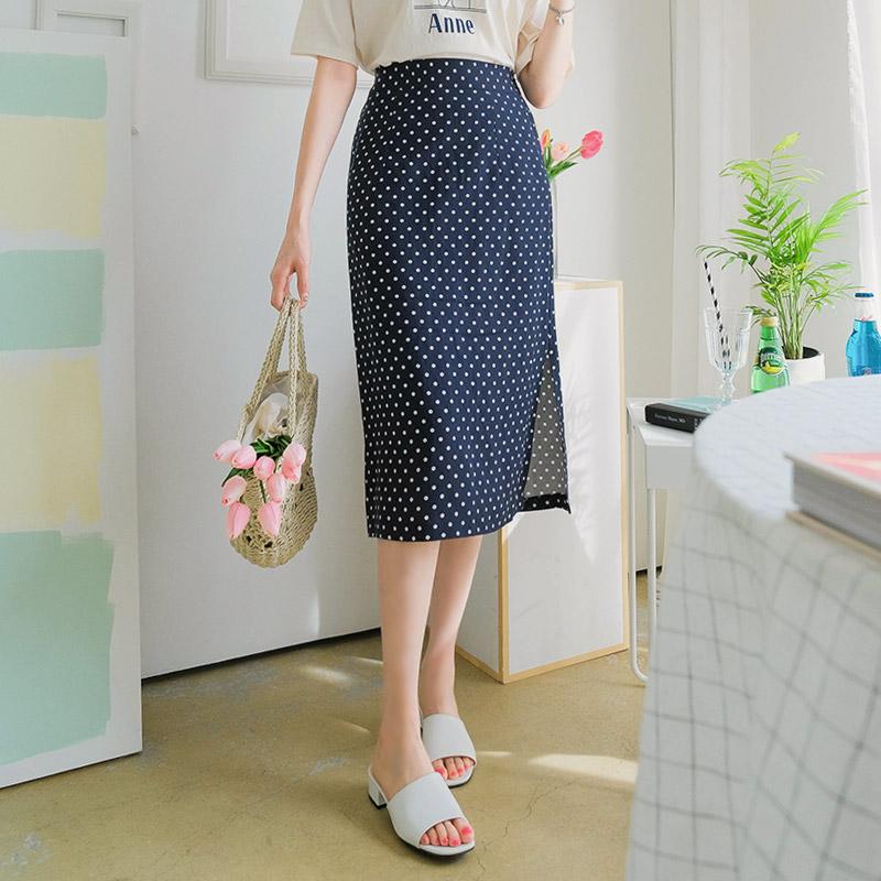 sk3476 린넨과 레이온 함유량의 도트패턴 포인트 H라인 슬릿 스커트 skirt