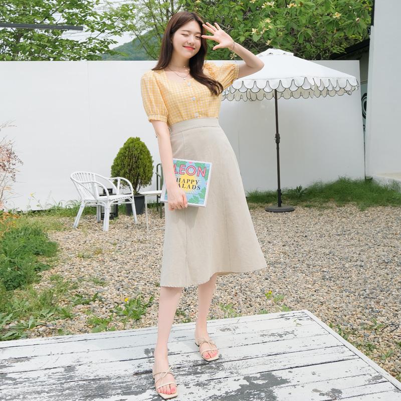 sk3477 리넨혼방 A라인 머메이드 백밴딩 스커트 skirt
