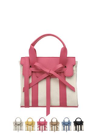 bg748 세련된 소재 배색 디자인의 미디엄 리본 캔버스 숄더, 토드백 bag