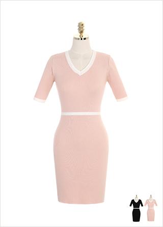 op7012 배색 라인 포인트의 브이넥 니트 원피스 dress