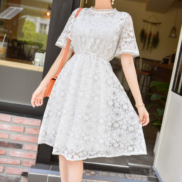 op7003 다양한 플라워 패턴의  미디기장 레이스 원피스 dress