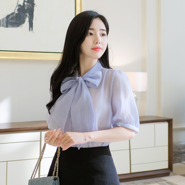 bs4354 시스루한 비침마저 고급스러운 반팔소매 리본타이 블라우스 blouse