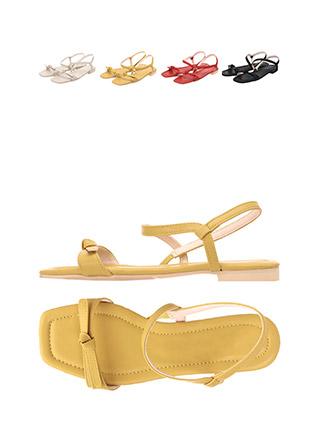 sh1467 스퀘어 앞코라인과 리본 스트랩 포인트의 샌들 shoes