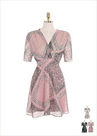 op7047 페이즐리 패턴의 브이넥 플레어 쉬폰 원피스 dress