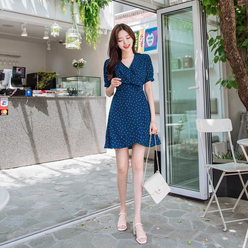 op6983 이온음료처럼 청량한 컬러감의 러블리 하트패턴 프릴 랩원피스 dress