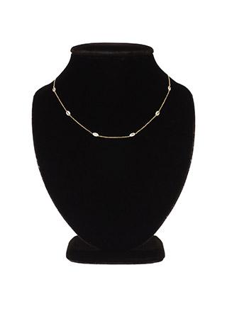 ac3953 타원 큐빅 포인트로 은은하게 완성된 데일리 네크리스 necklace