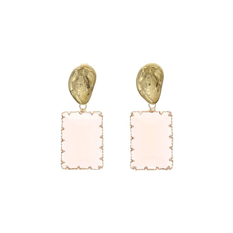 ac3952 투명 컬러 포인트의 스퀘어 드롭 이어링 earring