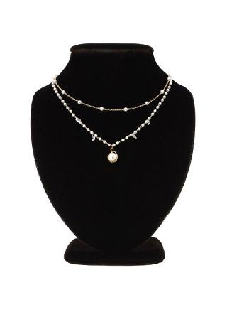 ac3954 레이어드한 듯 멋스럽게 완성된 2줄 포인트 드롭 네크리스 necklace