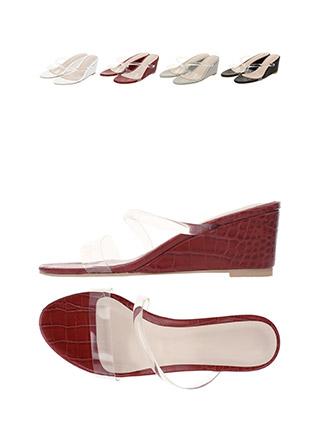 sh1479 뱀피 파이톤 패턴 포인트 투명 스트랩라인 뮬 슬리퍼 웨지힐 shoes