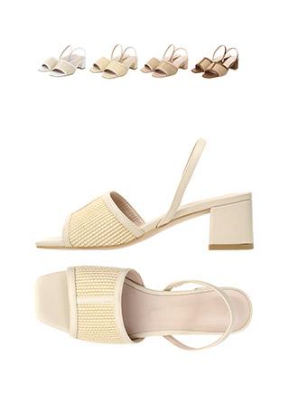 sh1475 라탄과 컬러배색으로 꾸며진 오픈토 슬링백 미들 샌들힐 shoes
