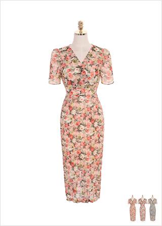 op7094 장미꽃 패턴과 주름 쉬폰 패브릭의 롱 원피스 dress