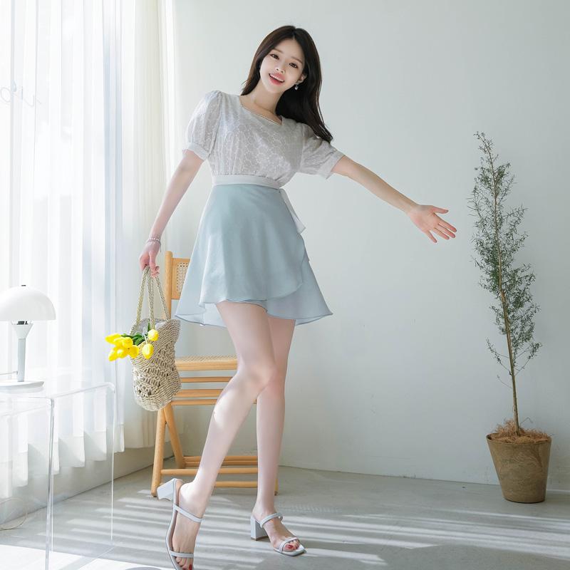 sk3507 발레리나를 연상캐 하는 배색 허리리본스트랩 포인트 랩플레어스커트 skirt